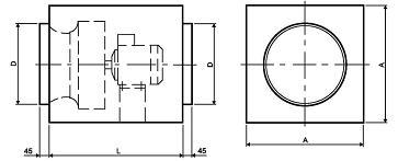 Схема квадратного вентилятора для круглых каналов ВРКК