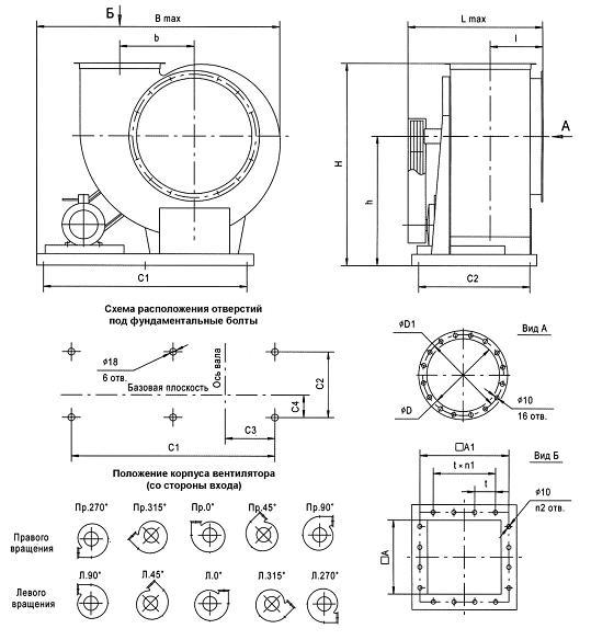 Схема вентилятора радиального